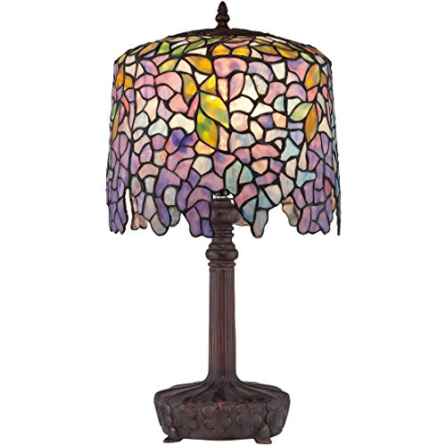 Quoizel TF1139T One Light Table Lamp 1-Light Tiffany Table Lamp, (Wisteria Fan Light Shade)