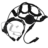 AOER Military Grade Tactical Throat Mic Headset/earpiece with BIG Finger PTT for Motorola Radio GP328+/344 EX PRO ES