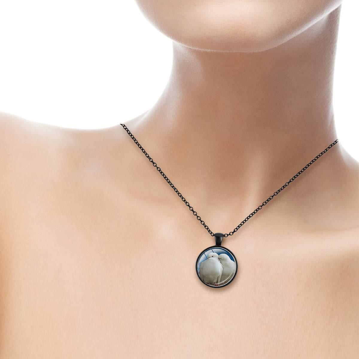 Family Decor White Doves Peace Dove Pendant Necklace Cabochon Glass Vintage Bronze Chain Necklace Jewelry Handmade