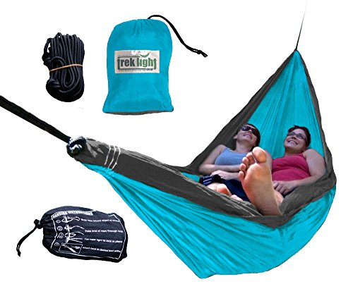 - Trek Light Gear Double Hammock with Rope Kit - The Original Brand of Best-Selling Lightweight Nylon Hammocks - Use for All Camping, Hiking, and Outdoor Adventures {Aqua/Charcoal}