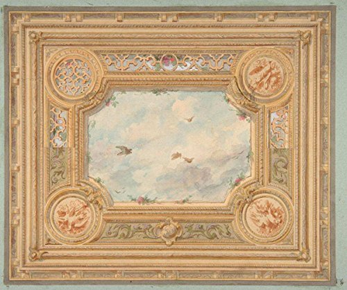 Historic Pictoric Fine Art Print | Jules-Edmond-Charles Lachaise | Design for a Ceiling with Four Medallions and Sky Motif in Center | Vintage Wall Art | 24in x 18in