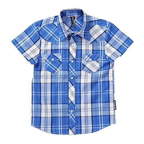 - Knuckleheads Clothing Plaid Button Down Short Sleevevbaby Kids Boy Shirt (3 yrs, Blue Plaid)