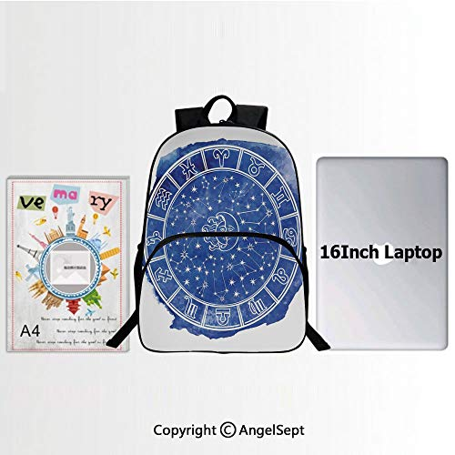 School Backpack Casual Daypack Travel Outdoor,Zodiac Circle Watercolor Backdrop Astrology Divination Fantasy Mystic Decorative 15.7