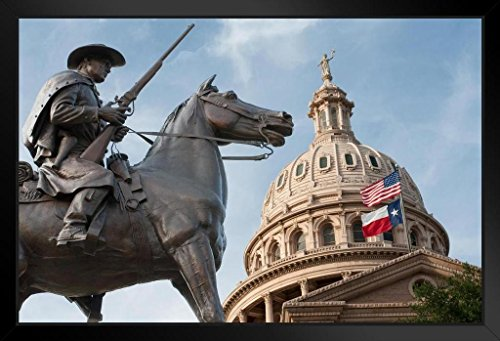 (Terrys Texas Rangers Monument State Capitol Dome Photo Art Print Framed Poster 20x14 inch)