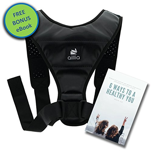 "Aillia Posture Corrector for Women Men Teens Back Support Brace - Effective Kyphosis Neck Hump Correction, Primate Discreet Under Clothes Upright Trainer, Clavicle Dowagers Corrector, Chest 36""-48'' by aillia"