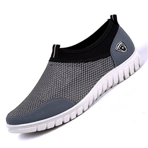 Summer Gray da Scarpe Mesh Sneakers Mocassini Calzature Walking Slipon Traspirante Fluores casual Uomo uomo Confortevole Scarpe q1TxZX
