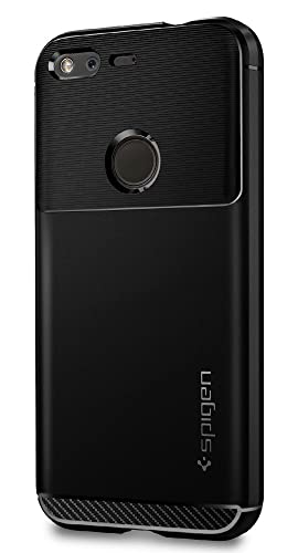 Google Pixel Case, Spigen® [Rugged Armour] Elastic [Black] Ultimate Protection From Drops and Bumps–[Carbon Look] Case for Google Pixel Case, Google Pixel Cover, Google Pixel 2016, Google Pixel 5.0–Black (F14CS20889)