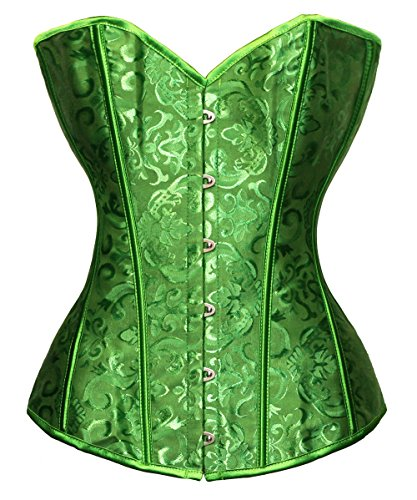 Bslingerie Womens Waist Cincher Boned Corset With Brocade (S, Green)