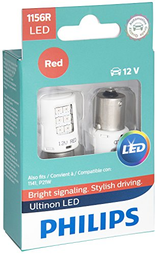 (Philips 1156 Ultinon LED Bulb (Red), 2 Pack)