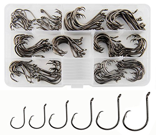 300pcs Fishing Circle Hooks, Eagle Bait Holder Barbs - High Strength Black Nickel Saltwater Freshwater Fishing