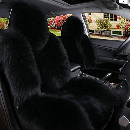 fluffy black car seat covers - 2