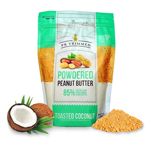 PB Trimmed TOASTED COCONUT, All Natural & Kosher Premium Powdered Peanut Butter from Real Roasted Pressed Peanuts, Good Source of Protein - 1 LB Pouch. (Toasted Coconut, 1 LB)