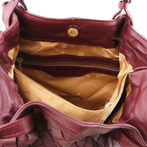 Tuscany Leather - TL KeyLuck - Sac shopping en cuir tressé à main - Bordeaux
