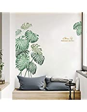 Green Plants Wall Decor for Bedroom Living Room Kitchen, iinuu Nature Palm Leaf Wall Decals, Classroom Nursery Offices Wall Decorations