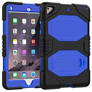 iPad 9.7 Case,iPad 2017 Case,iPad 5th Generation Case,Slim Heavy Duty Shockproof Rugged Case Hard PC+Silicone Hybrid High Impact Full Body Protective Case for iPad 9.7 A1822/A1823 (blue)