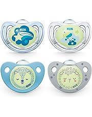 NUK Napp med ljuseffekt   Freestyle Night och Trendline Night   6–18 månader   BPA-fri silikon   Blå   4 stycken