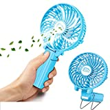 USB Mini Hand Fan, LightsGoal Battery Operated Cooling Fan, Electric Foldable Fan with Strong Wind, Portable Clip Fan for Outdoor Activity - 3 Speed Blue