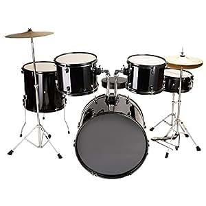 new black drum set 5 pc complete adult set cymbals full size adult drum set j05. Black Bedroom Furniture Sets. Home Design Ideas