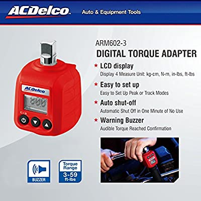 "ACDelco 3/8"" Digital Torque Adapter (5.9-59 ft-lbs) with Audible Alert ARM602-3 - Torque Wrenches - .com"