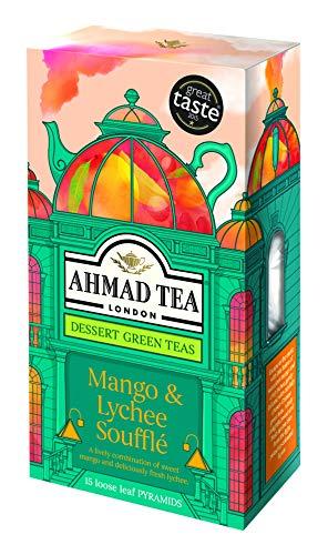 - Ahmad Tea Dessert Loose Leaf Pyramid Teabags, Mango & Lychee Souffle, 15 Count