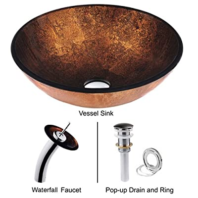LightInTheBox Copper RoundTempered Glass Vessel Sink with Waterfall Faucet ,Pop - Up drain and Mounting Ring