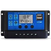 Ajcoflt Controlador de Carga Solar 10A, Controlador de Panel Solar Pantalla LCD Ajustable de 12V / 24V Regulador de…