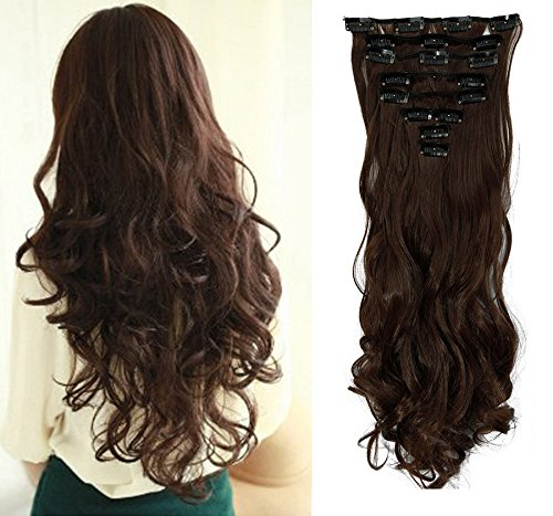 Hairpieces Clip in Synthetic Hair Extensions Japanese Kanekalon Fiber Full Head Thick Long Wavy Curly Soft Silky 8pcs 18clips for Women Girls Lady 24'' / 24 inch (#4 Medium (Sexy Ginger)