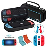 ANGPO for Nintendo Switch Protector Kit,Large Capacity Travel Case/Joycon Grips Guards/2x HD Anti Glare Switch Screen Protector/2x Game Card and Micro SD Card Storage Case (4in1-Oxford-Blue)