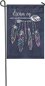 """Vooft Double Sided Garden Flag Tribal Ethnic Arrows and Feathers American Indian Motifs Boho Dream 28""""x40"""" Soft Durable Outdoor Banner Courtyard Lucky Corridor Decoration"""