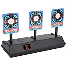 Vbestlife Electric Scoring Target Auto Reset Intelligent Light Sound Effect Digital Target Kids Electronic Target Shooting Game for Nerf Gun N-Strike Elite/Mega/Rival Series