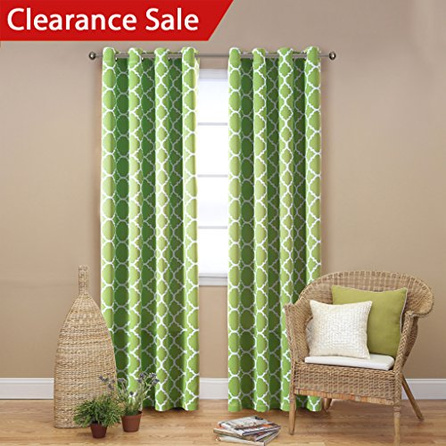 FlamingoP Functional Moroccan Blackout Curtains for Bedroom  Thermal Insulated Privacy Assured Printed Window Living Room Grommet Top Green For Amazon com
