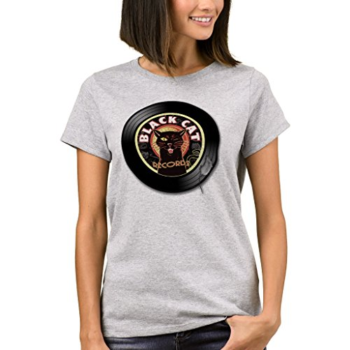 Lp Large Steel Bottom - Zazzle Women's Basic T-Shirt, Black Cat Lp Art Deco T-Shirt, Light Steel L