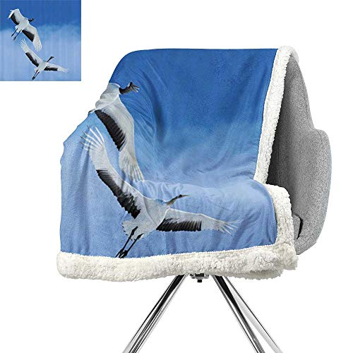 ScottDecor Bird Lightweight Fluffy Flannel and Sherpa Blanket,Two Red Crowned Crane with Open Wings Flying in Clear Sky Japanese Animal Duo,Blue White Black,Print Summer Quilt Comforter W59xL47 -