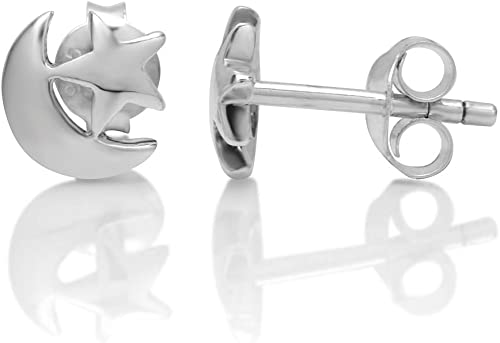 Moon with Star Stud Post Earrings Sterling Silver