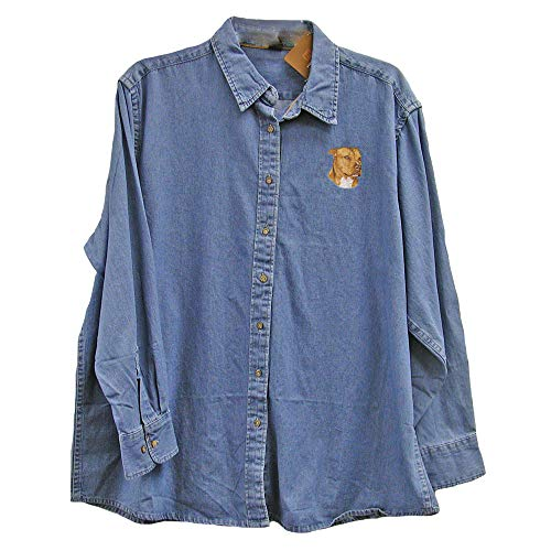 Cherrybrook Dog Breed Embroidered Ladies Denim Shirts - X-Large - Denim - American Staffordshire Terrier