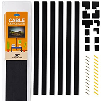 simple cord black cable concealer on wall cord cover raceway kit cable management. Black Bedroom Furniture Sets. Home Design Ideas