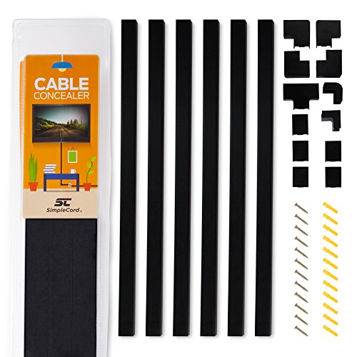 Simple Cord Black Cable Concealer On-Wall Cord Cover Raceway Kit - Cable Management System to Hide Cables, Cords, or Wires - Cord Organizer for TVs and Computers at Home or in The Office ()