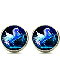 Silver Tone Unicorn Horse Earrings Stud Post Glass Cabochon Art Picture Jewelry