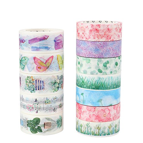 "Garden Pattern Paper (Molshine Set of 12 Japanese Washi Masking Tape, Secret Garden, Sticky Paper Tape for DIY, Decorative Craft, Gift Wrapping, Scrapbook (7rolls 0.6"" x7.6"",5 roll 0.8"" x7.6 ""))"