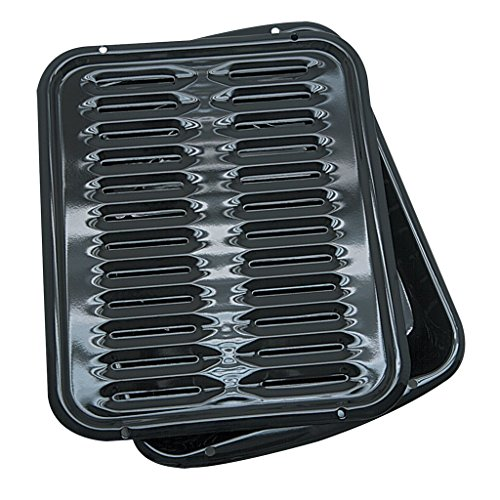 Range Kleen Broiler Pans for Ovens - BP102X 2 Pc Black Porcelain Coated Steel Oven Broiler Pan with Rack 16 x 12.5 x 1.6 Inches (Oven Broiler Pan)