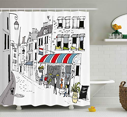 Ambesonne Paris Decor Shower Curtain by, Drawing of a Street in Paris A Cafe and the Street Lamp Illustration Print, Fabric Bathroom Decor Set with Hooks, 84 Inches Extra Long, White and Grey ()