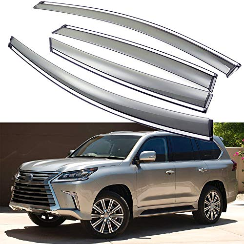 SPEEDLONG 4Pcs Car Window Visor Vent Shade Deflector Sun/Rain Guard for Lexus LX 570 2016 2017 2018 2019