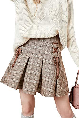 Artka Women's Preppy Style High Waist Plaid A Line Mini Skirt with Pleated Hem Brown, S