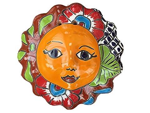 Talavera Eclipse Decor - Sun and Moon Face Ceramic - Hand Painted In Mexico - Multicolor - Small