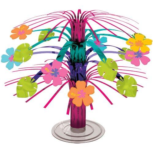 Sun-Sational Summer Luau Party Tropical Hibiscus Mini Cascade Centerpiece Table Decoration, Foil, (Hibiscus Table)