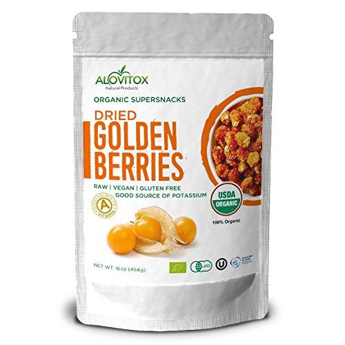 Alovitox Certified Organic Golden Berries Fresh & Highest Quality Raw Vegan Gluten Free Dried Super Fruit