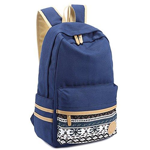 "Coofit® 15"" Dark Blue Vintage Aztec Print Unisex Fashion Canvas School Backpacks"