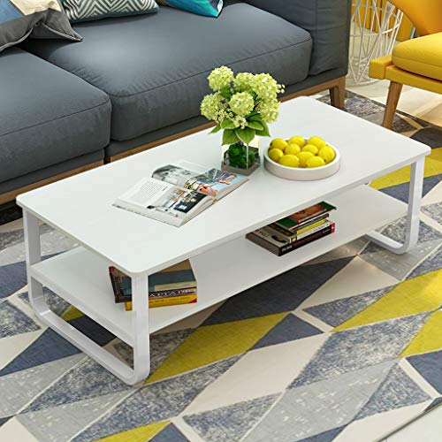 Ketteb Modern Home Coffee Table 2-Tier Cocktail Table with Storage Shelf for Living Room Look Accent Furniture with Metal Frame Modern Studio Collection Classic Rectangular Coffee Table (White)