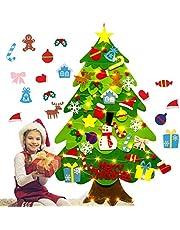 HEITIGN Vilt Kerstboom, 3ft DIY Zachte Kerstboom met Afneembare Vilt Opknoping Ornamenten en String Licht, Kids Xmas Gift Kerst Nieuwjaar Muur Opknoping Decoraties