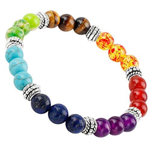 SUNYIK 7 Color Chakra Genuine Semi Precious Stone Bracelet Healing